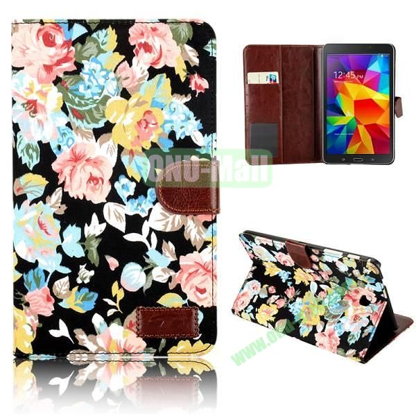Elegant Flower Flip Pattern Wallet Leather Case for Samsung Galaxy Tab 4 8.0 T330 (Black)