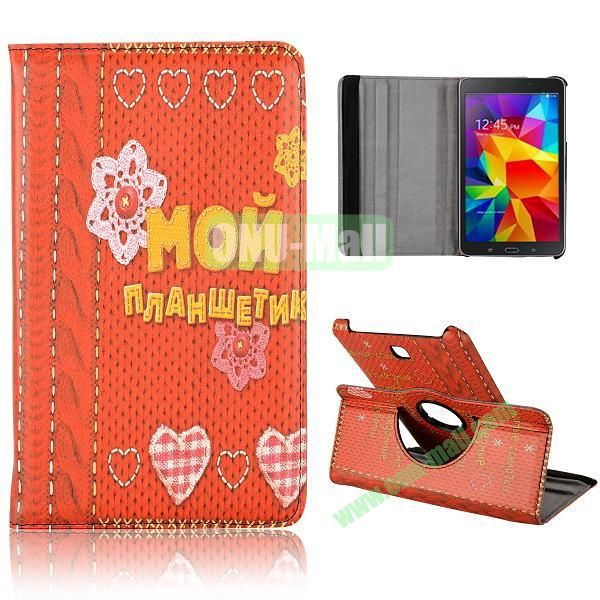 360 Degree Rotatable Leather Case for Samsung Galaxy Tab 4 8.0 T330 (Flowers and Heart Pattern)