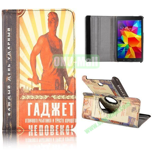 360 Degree Rotatable Leather Case for Samsung Galaxy Tab 4 8.0 T330 (Man Pattern)