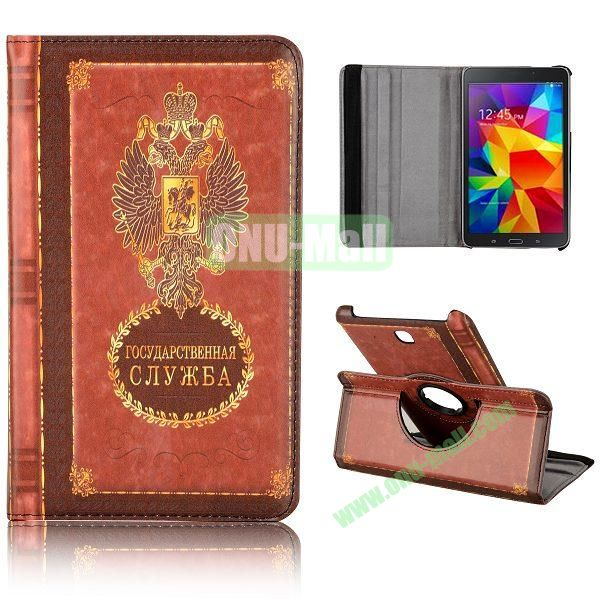 360 Degree Rotatable Leather Case for Samsung Galaxy Tab 4 8.0 T330 (Russian coat of Arms Notebppk Pattern)