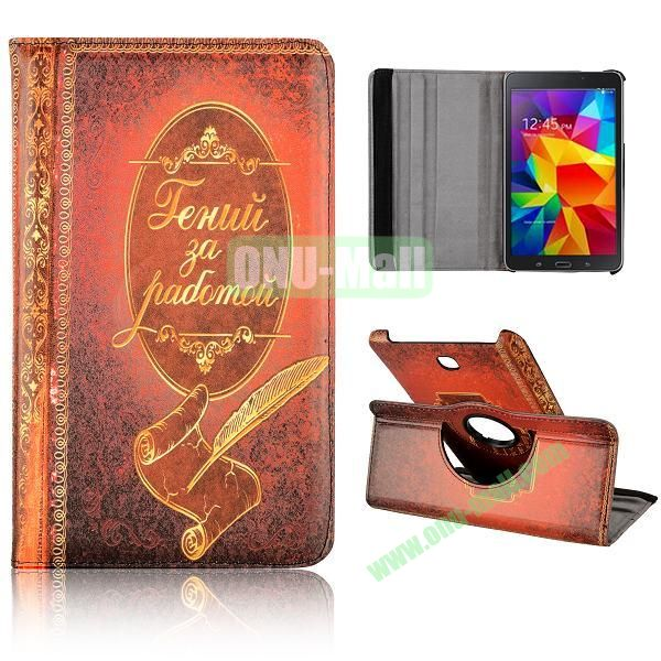 360 Degree Rotatable Leather Case for Samsung Galaxy Tab 4 8.0 T330 (Notebook Pattern)