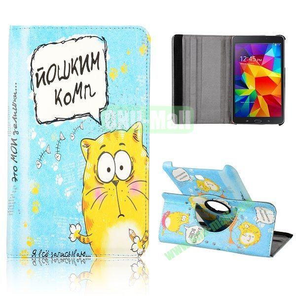 360 Degree Rotatable Leather Case for Samsung Galaxy Tab 4 8.0 T330 (Cute Cat Pattern)