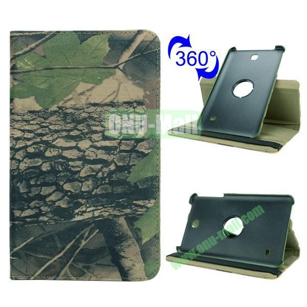 360 Rotating Retro Pattern Cloth Texture Case for Samsung Galaxy Tab 4 8.0 T330 with Belt (Treeblight)