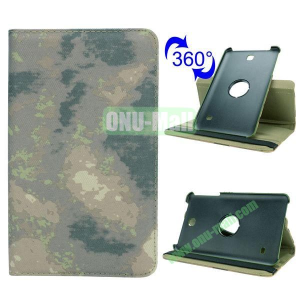 360 Rotating Retro Pattern Cloth Texture Case for Samsung Galaxy Tab 4 8.0 T330 with Belt (Grey Camouflage)
