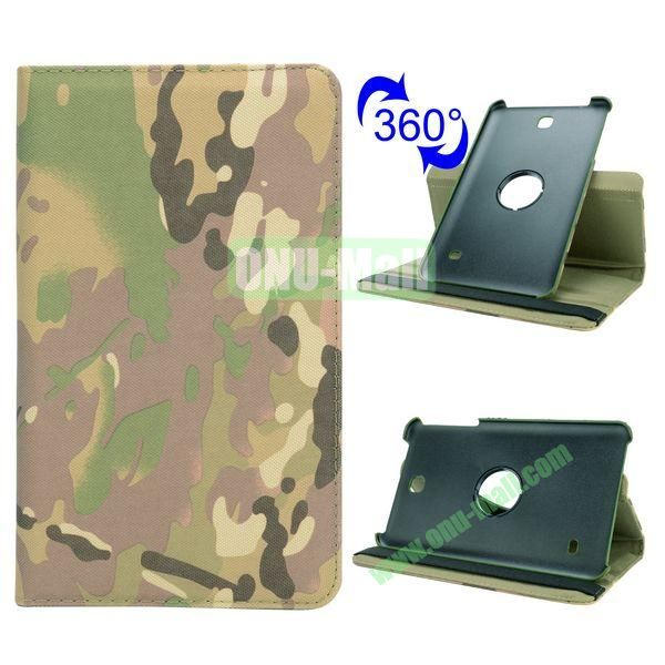 360 Rotating Retro Pattern Cloth Texture Case for Samsung Galaxy Tab 4 8.0 T330 with Belt (Camouflage)
