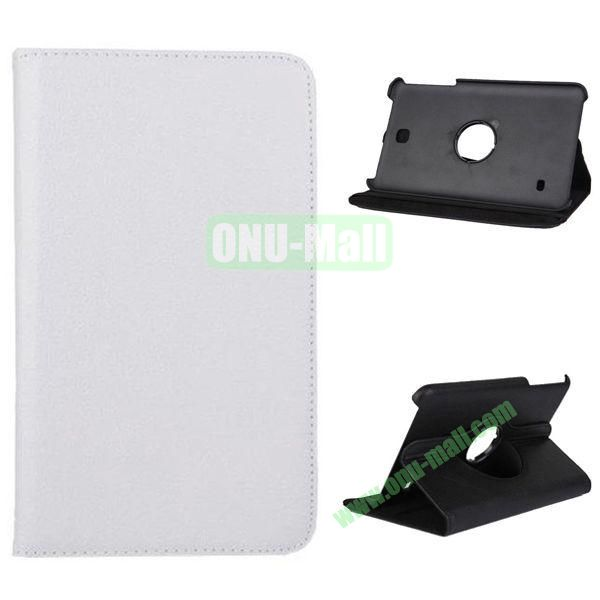 360 Degree Rotation Litchi Texture Leather Case for Samsung Galaxy Tab 4 8.0  T330 (White)