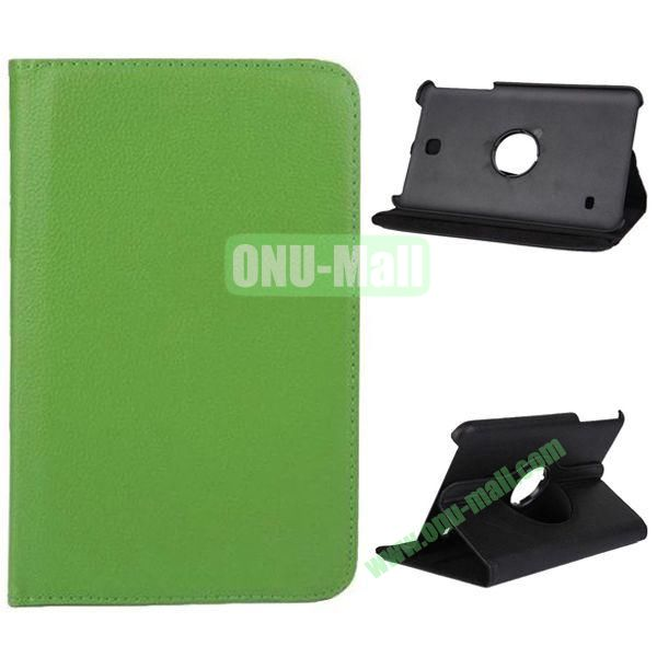 360 Degree Rotation Litchi Texture Leather Case for Samsung Galaxy Tab 4 8.0  T330 (Green)