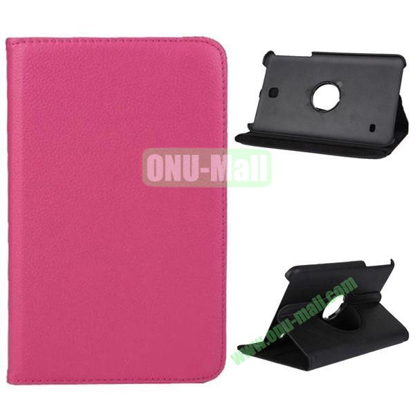 360 Degree Rotation Litchi Texture Leather Case for Samsung Galaxy Tab 4 8.0  T330 (Rose)
