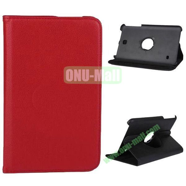 360 Degree Rotation Litchi Texture Leather Case for Samsung Galaxy Tab 4 8.0  T330 (Red)