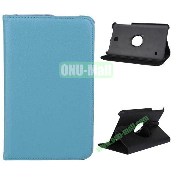 360 Degree Rotation Litchi Texture Leather Case for Samsung Galaxy Tab 4 8.0  T330 (Light Blue)