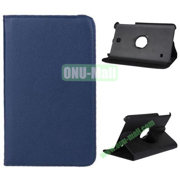 360 Degree Rotation Litchi Texture Leather Case for Samsung Galaxy Tab 4 8.0  T330 (Dark Blue)