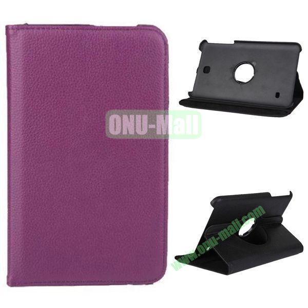 360 Degree Rotation Litchi Texture Leather Case for Samsung Galaxy Tab 4 8.0  T330 (Purple)