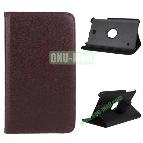 360 Degree Rotation Litchi Texture Leather Case for Samsung Galaxy Tab 4 8.0 T330 (Brown)