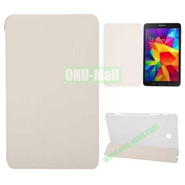 3-Folding Stand Leather Case with Transparent Back Cover for Samsung Galaxy Tab 4 8.0  T330 (White)