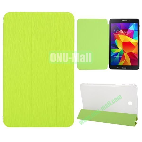3-Folding Stand Leather Case with Transparent Back Cover for Samsung Galaxy Tab 4 8.0  T330 (Green)