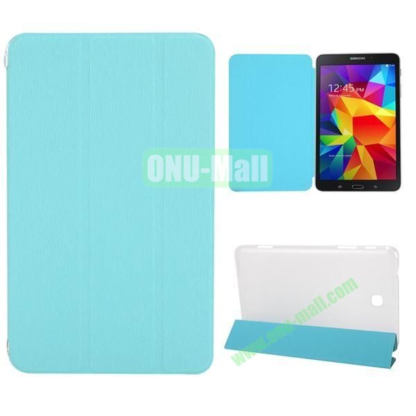 3-Folding Stand Leather Case with Transparent Back Cover for Samsung Galaxy Tab 4 8.0  T330 (Blue)
