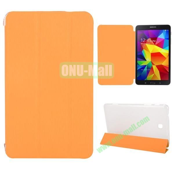 3-Folding Stand Leather Case with Transparent Back Cover for Samsung Galaxy Tab 4 8.0  T330 (Orange)