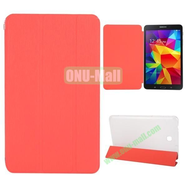 3-Folding Stand Leather Case with Transparent Back Cover for Samsung Galaxy Tab 4 8.0  T330 (Red)