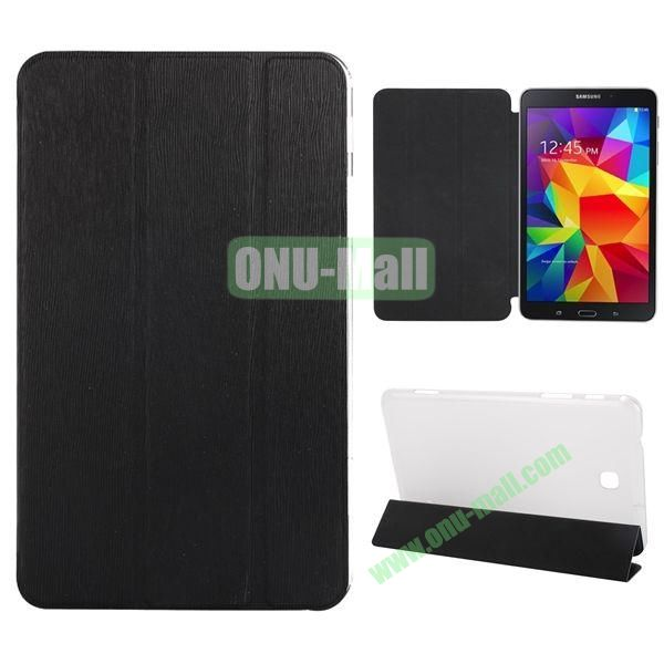3-Folding Stand Leather Case with Transparent Back Cover for Samsung Galaxy Tab 4 8.0  T330 (Black)