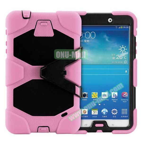 2 in 1 Pattern PC + Silicone Hybrid Case for Samsung Galaxy Tab 4 T330 with Kickstand (Pink)