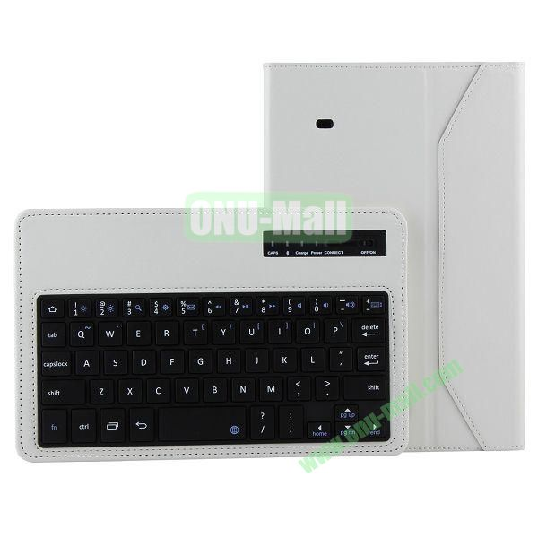 ABS Detachable Wireless Bluetooth 3.0 Keyboard Leather Case For Samsung Galaxy Tab 4 8.0 T330 (White)