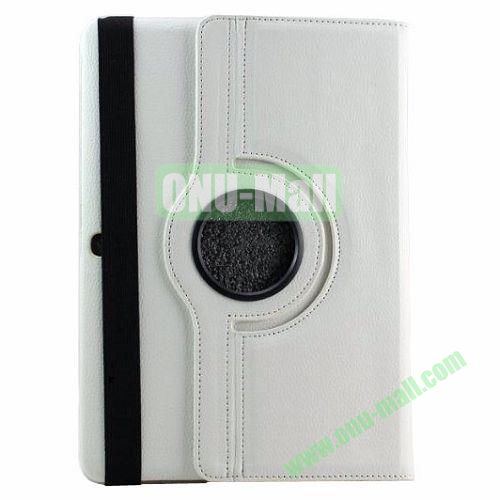 360 Rotating Pattern Litchi Texture Leather Case for Samsung Galaxy Tab Pro 10.1 T520 with Armband (White)