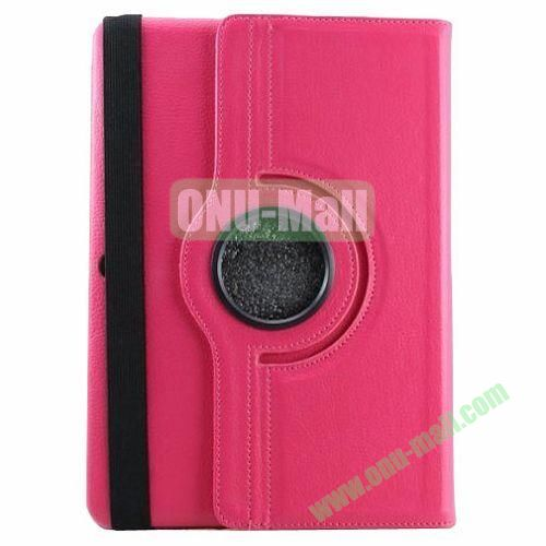 360 Rotating Pattern Litchi Texture Leather Case for Samsung Galaxy Tab Pro 10.1 T520 with Armband (Rose)