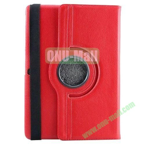 360 Rotating Pattern Litchi Texture Leather Case for Samsung Galaxy Tab Pro 10.1 T520 with Armband (Red)