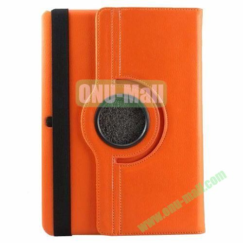 360 Rotating Pattern Litchi Texture Leather Case for Samsung Galaxy Tab Pro 10.1 T520 with Armband (Orange)