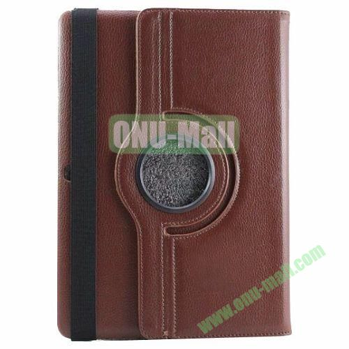 360 Rotating Pattern Litchi Texture Leather Case for Samsung Galaxy Tab Pro 10.1 T520 with Armband (Brown)