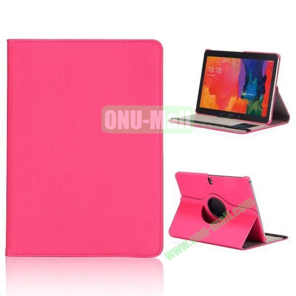 Cloth Texture 360 Degree Rotation Flip Leather Case for Samsung Galaxy Tab Pro 10.1 T520  ( Hot Pink )