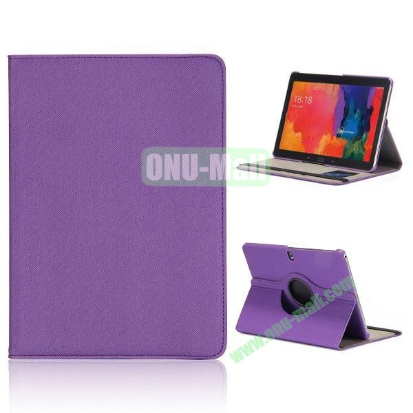 Cloth Texture 360 Degree Rotation Flip Leather Case for Samsung Galaxy Tab Pro 10.1 T520  (Purple)