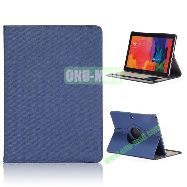 Cloth Texture 360 Degree Rotation Flip Leather Case for Samsung Galaxy Tab Pro 10.1 T520  (Dark Blue)