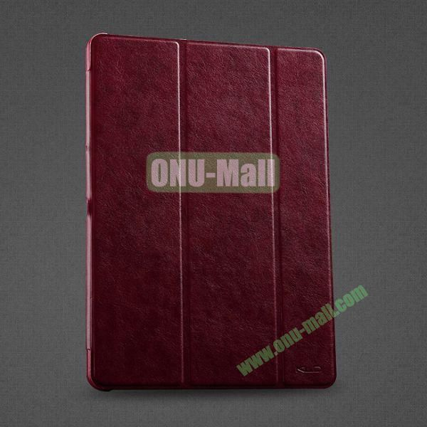 KLD OSCAR Series 3-folding Flip Stand Leather Case for Samsung Galaxy Tab Pro 10.1  T520 (Dark Red)