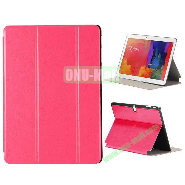 New Arrival 3-Folding Leather Stand Case for Samsung Galaxy Tab Pro 10.1  T520 (Hotpink)