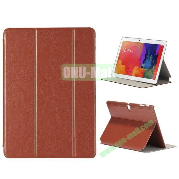 New Arrival 3-Folding Leather Stand Case for Samsung Galaxy Tab Pro 10.1  T520 (Brown)