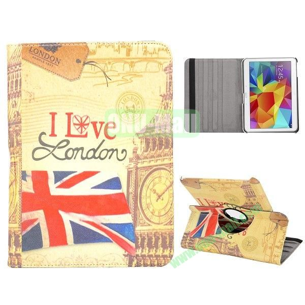 360 Degree Rotatable Leather Case for Samsung Galaxy Tab 4 10.1 T530 (Retro UK Flag and Big Ben)