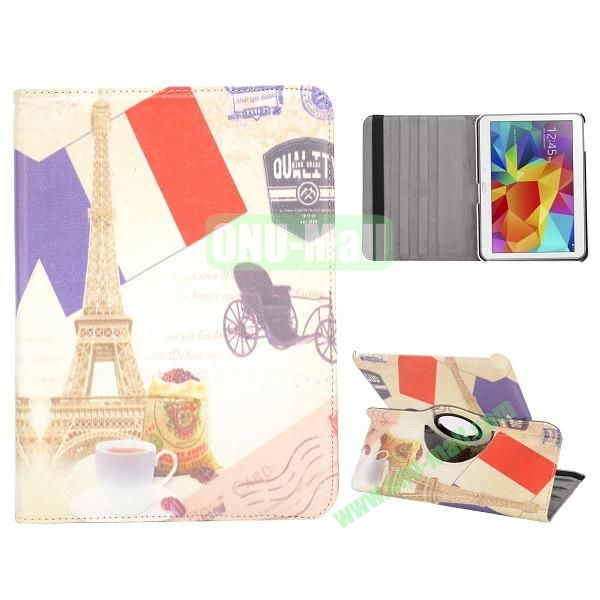 360 Degree Rotatable Leather Case for Samsung Galaxy Tab 4 10.1 T530 (Eiffel Tower Pattern)