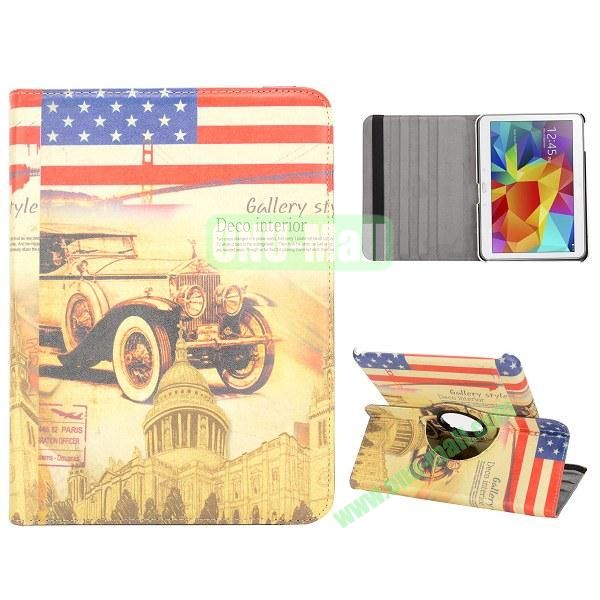 360 Degree Rotatable Leather Case for Samsung Galaxy Tab 4 10.1 T530 (USA Flag and Car Pattern)