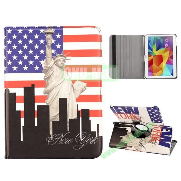 360 Degree Rotatable Leather Case for Samsung Galaxy Tab 4 10.1 T530 (USA Flag and Statue of Liberty Pattern)