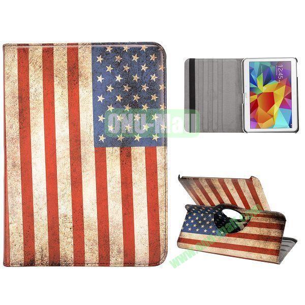 360 Degree Rotatable Leather Case for Samsung Galaxy Tab 4 10.1 T530 (Retro USA Flag)