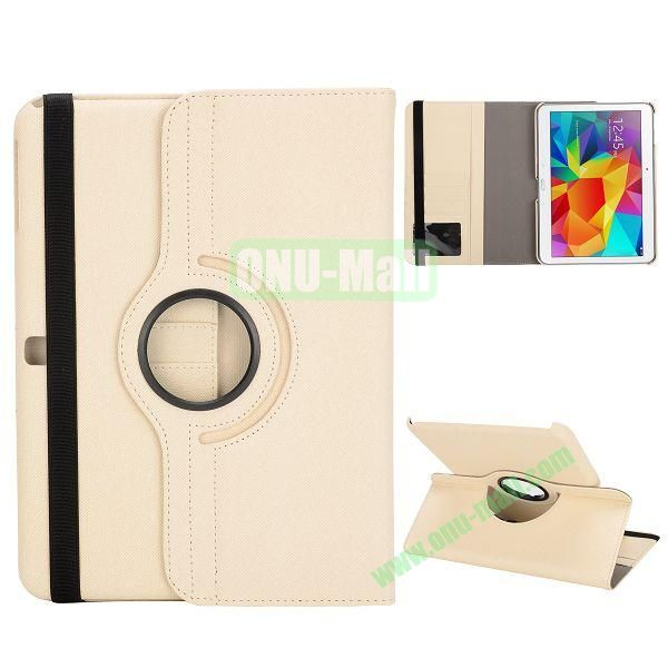 Cloth Texture 360 Degree Rotation Foldable Stand Leather Cover for Samsung Galaxy Tab 4 10.1 T530 (White)
