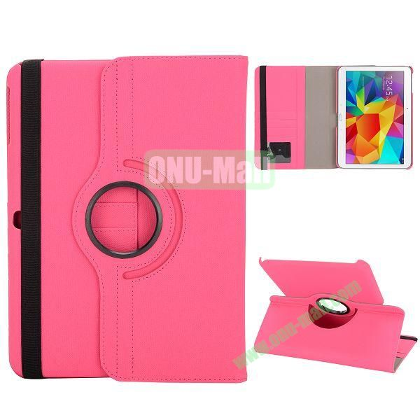 Cloth Texture 360 Degree Rotation Foldable Stand Leather Cover for Samsung Galaxy Tab 4 10.1 T530 (Rose)