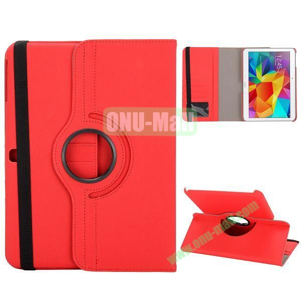 Cloth Texture 360 Degree Rotation Foldable Stand Leather Cover for Samsung Galaxy Tab 4 10.1 T530 (Red)
