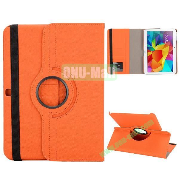 Cloth Texture 360 Degree Rotation Foldable Stand Leather Cover for Samsung Galaxy Tab 4 10.1 T530 (Orange)