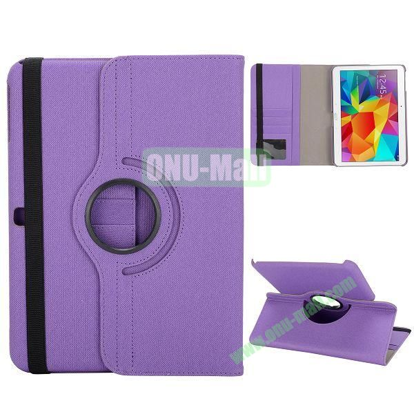Cloth Texture 360 Degree Rotation Foldable Stand Leather Cover for Samsung Galaxy Tab 4 10.1 T530 (Purple)