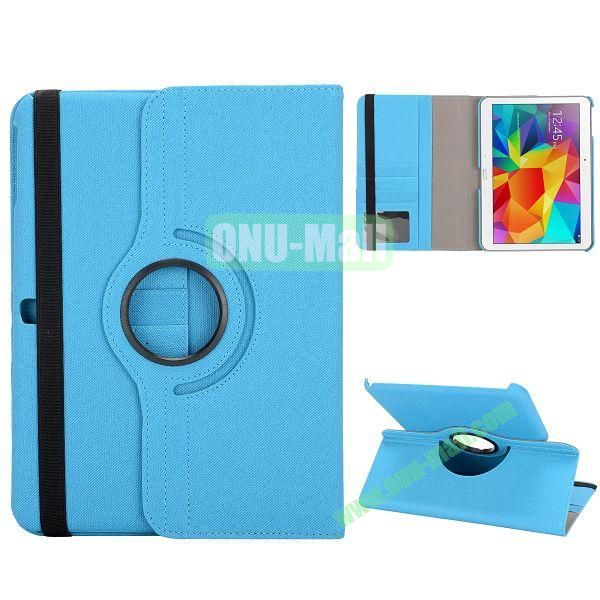 Cloth Texture 360 Degree Rotation Foldable Stand Leather Cover for Samsung Galaxy Tab 4 10.1 T530 (Blue)