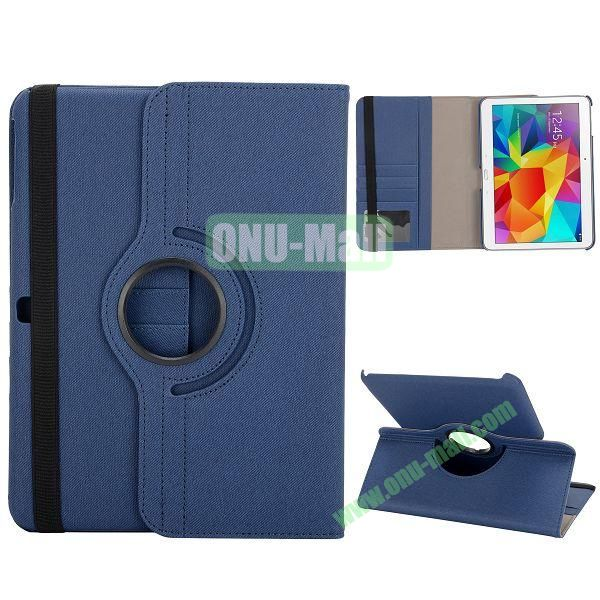 Cloth Texture 360 Degree Rotation Foldable Stand Leather Cover for Samsung Galaxy Tab 4 10.1 T530 (Dark Blue)