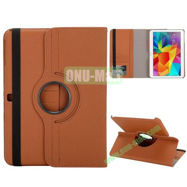 Cloth Texture 360 Degree Rotation Foldable Stand Leather Cover for Samsung Galaxy Tab 4 10.1 T530 (Brown)