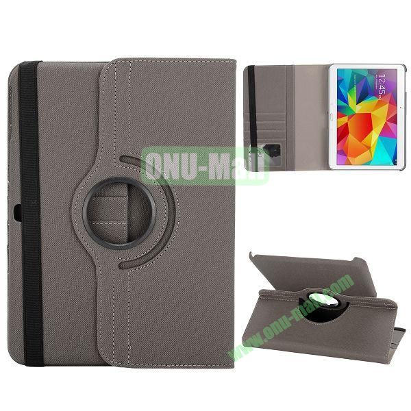 Cloth Texture 360 Degree Rotation Foldable Stand Leather Cover for Samsung Galaxy Tab 4 10.1 T530 (Gray)